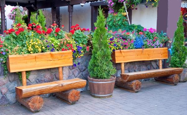 Ławka ogrodowa  z bali