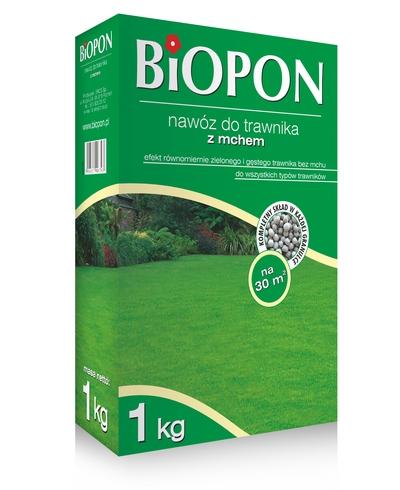 BIOPON nawóz do trawników z mchem. Efekt równomiernie zielonego i gęstego trawnika bez mchu